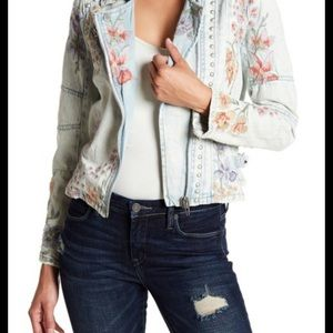 Blanknyc Embroidered jean studded moto jacket